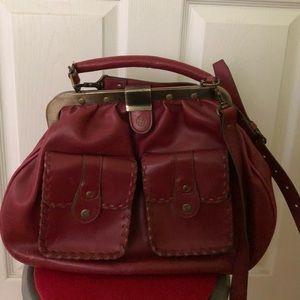 MATT and NAT clamshell vegan purse, maroon/pink